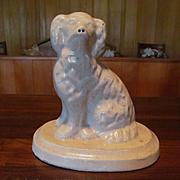 Illinois White Stoneware Spaniel Dog Doorstop, Galesburg Pottery Company