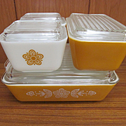 Pyrex Butterfly Gold 8pc Refrigerator Ovenware Dish Set