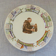 1910 Calendar Plate with Monk, Steubenville China