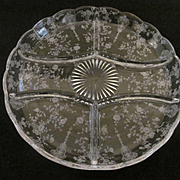Cambridge Rose Point 5 Part Relish Dish #394