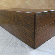 Oak File Box Dovetailed, Index Cards, Interior Slide