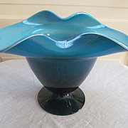 Art Glass Cased Blown Bowl with Fold Over Rim