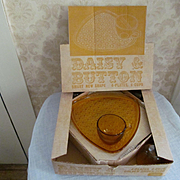 Daisy and Button Golden Amber Snack Set with Box, Indiana Glass