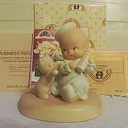 1994 Enesco Bless-Em Baby with Kitten Figurine with Box and Paperwork