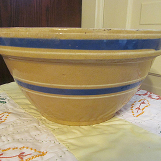 "Yellow Ware Double Blue White Banded  11.5""  Mixing Bowl"