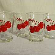 Red Cherry Cocktail Barware Tumblers 1950s Barlett-Collins