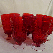 Eight Ruby Seneca Driftwood Casual  Ice Tea Goblets Stems