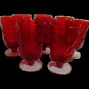 Eight Ruby Seneca Driftwood Casual  Ice Tea Goblets Stems