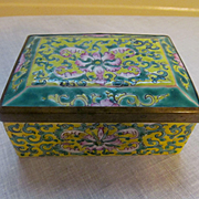 Chinese Enameled Vanity Trinket Box with Brass Trim