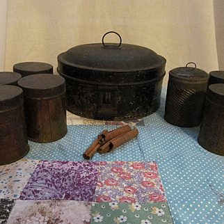 Early 8pc Stenciled Tin Spice Set, Domed Pantry Box and Grater