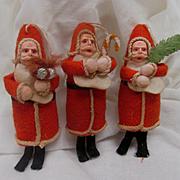 Three Christmas Tree Ornament Santas