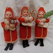 Three Christmas Tree Ornament Santas