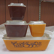 Pyrex Old Orchard 8pc Refrigerator Ovenware Set Ex