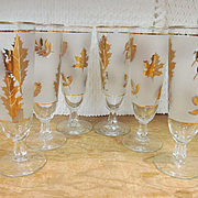 6 Libbey Frosted Gold Leaf Ice Tea, Pilsner, Tom Collins Footed Tumblers
