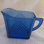 Hazel Atlas Cobalt Blue Ritz Chevron Creamer