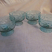 4 Anchor Hocking Lido Crinkle Wrinkle Aquamarine Sherbets