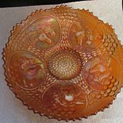 Fenton Carnival Dark Marigold Horse Horsehead Medallion Bowl, Berry and Leaf Circle Exterior