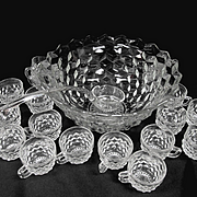 "Fostoria 14"" Punch Bowl Set, Glass Ladle, 16 Punch Cups"