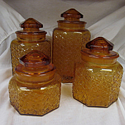 Amber Daisy and Button Canister Set, LE Smith