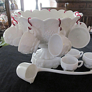 Westmoreland Paneled Grape Punch Bowl Set with Pedestal, Glass Ladle and 12 Cups