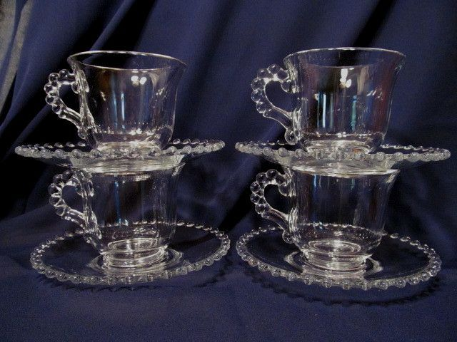 4 Candlewick Imperial Cup & Saucer Sets