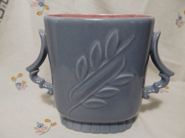 "Red Wing Handled 7""  Blue Vase, Rose/Pink Interior #1174"