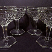 4 American Fostoria Tall Sherbets, Hexagonal Foot