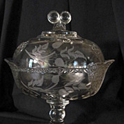 EAPG Covered Compote, Wheel Etched Florals