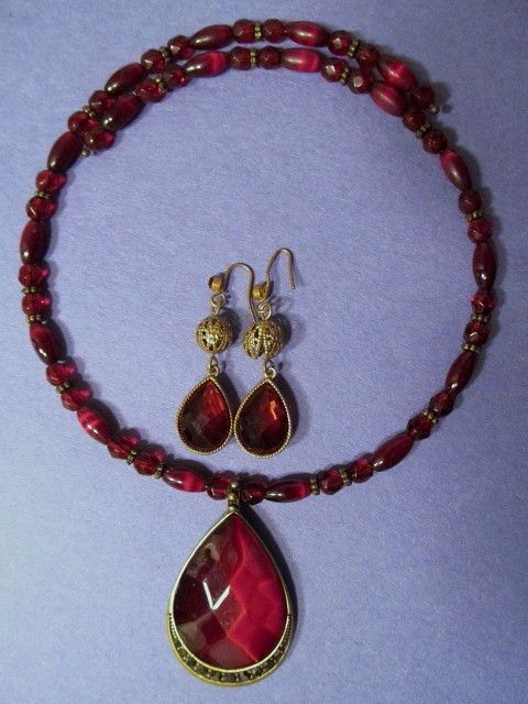 Monet Ruby Teardrop Pendant Choker Necklace, Wire Drop Earrings