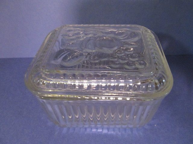 Federal Fruit Lid,Ribbed Base Refrigerator Dish