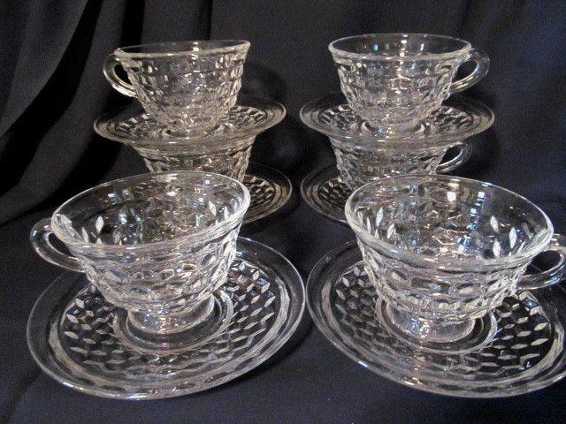 6 American Fostoria Cups & Saucers