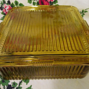 Federal Amber Ribbed Square Refrigerator Dish, EX