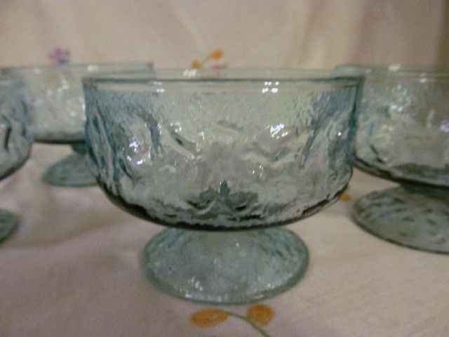 4 Crinkle Lido  Aquamarine Dessert Sherbets, Anchor Hocking