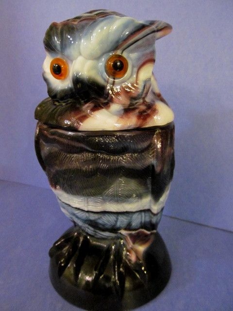"""Imperial Purple Slag 6 1/2"""" Owl Covered Jar #800"""