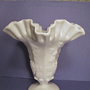"Westmoreland Paneled Grape 8 1/2"" Ruffled Vase"