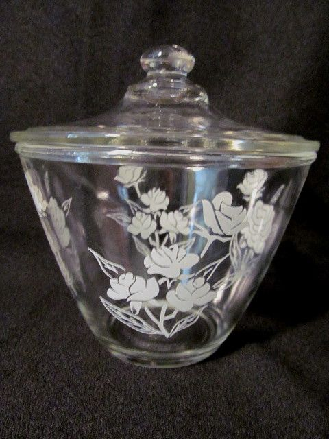 Fire King Hocking Roses Grease Jar