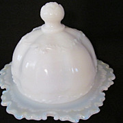 EAPG Versailles Opaque Milk Glass Butter Dish, Dithridge Glass Co