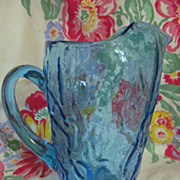 "Seneca Crinkle 8"" Peacock Blue Pitcher"