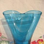 """Blenko 6 1/2"""" Blue Pinched Vase"""