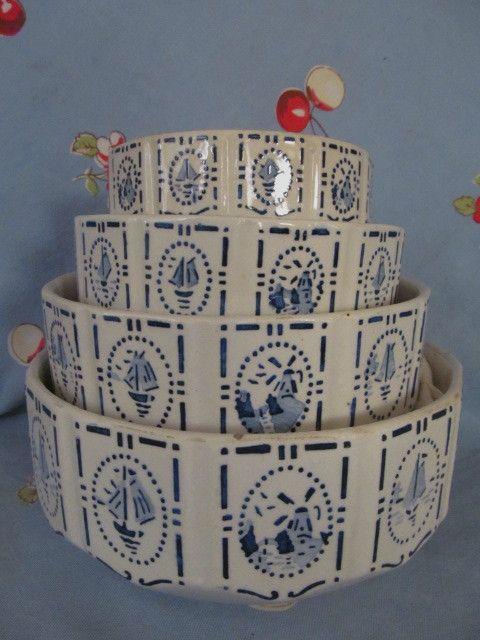 Czechoslovakia Blue & White 4pc Nesting Mixing Bowl Set