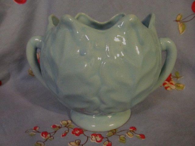 USA Pottery Handled Leaf Vase