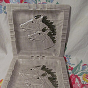 "Pair Mid Century, Western Flair, Ceramic  8 1/4""  Horse Head Ashtrays"