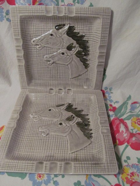 "Pair Mid Century, Western Flair, Ceramic  8 1/4""  Horse Head Ashtrays"