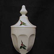 """Westmoreland Christmas Holly Colonial  7 3/4""""  Candy Dish, Scarce"""