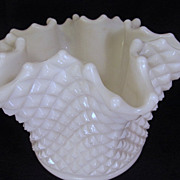 "Westmoreland English Hobnail  6 1/2"" Ruffled Rose Bowl"
