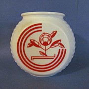 Hocking Vitrock Depression Red White Grease Jar, No Lid