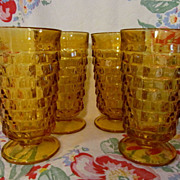 4 Amber Whitehall Cubist,Indiana Water Tumblers