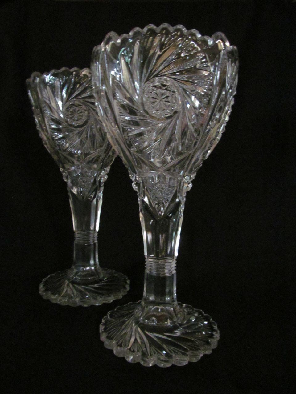 """Lovely 2 EAPG Imperial Pinwheel & Hobstar 9"""" Chalice Vases"""