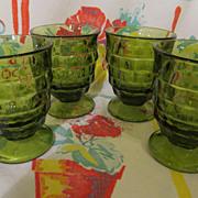 4 Green Whitehall Cubist, Indiana Tumblers