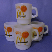 4 Fire King McDonald Good Morning Stacking Mugs